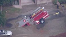 L.A. City Fire Engine Swallowed by Sinkhole