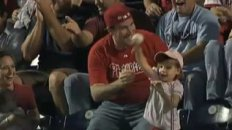 Bye Bye Baseball!  Dad Catches Foul, Little Girl Throws It Back!